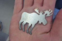 A laser cut, stainless steel, moose.