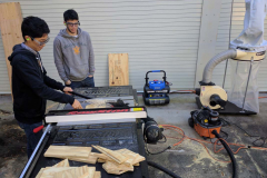 Working in the outdoor woodshop